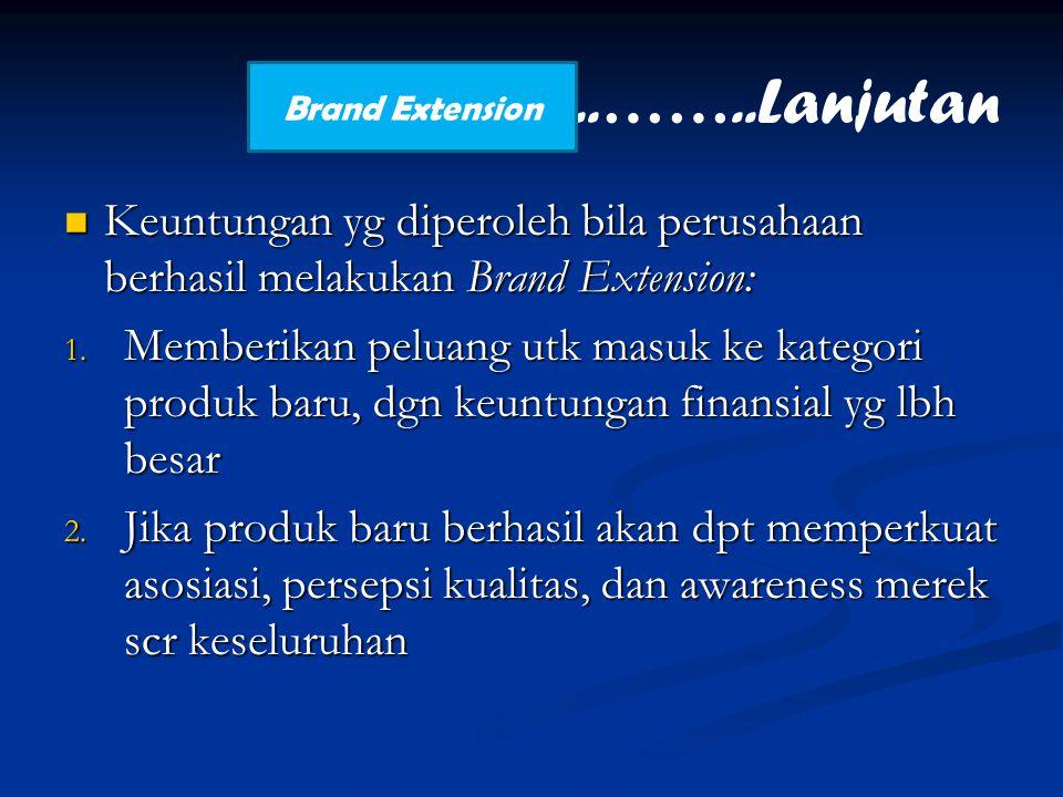 Keuntungan yg diperoleh bila perusahaan berhasil melakukan Brand Extension: Keuntungan yg diperoleh bila perusahaan berhasil melakukan Brand Extension