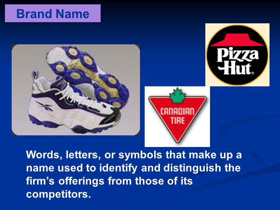 Brand Name Words, letters, or symbols that make up a name used to identify and distinguish the firm's offerings from those of its competitors.