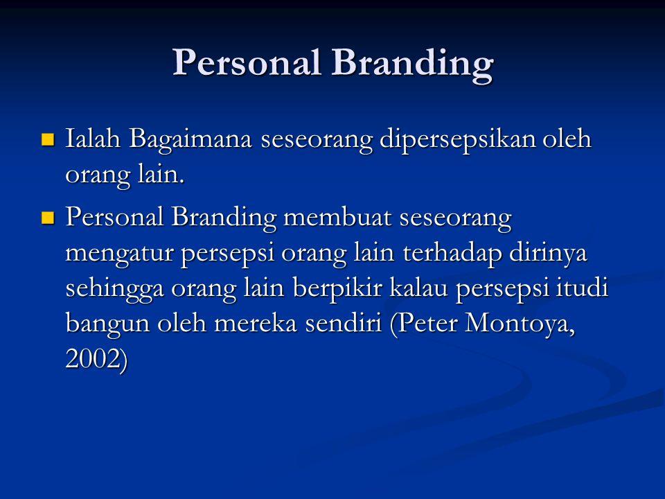 Personal Branding Ialah Bagaimana seseorang dipersepsikan oleh orang lain. Ialah Bagaimana seseorang dipersepsikan oleh orang lain. Personal Branding