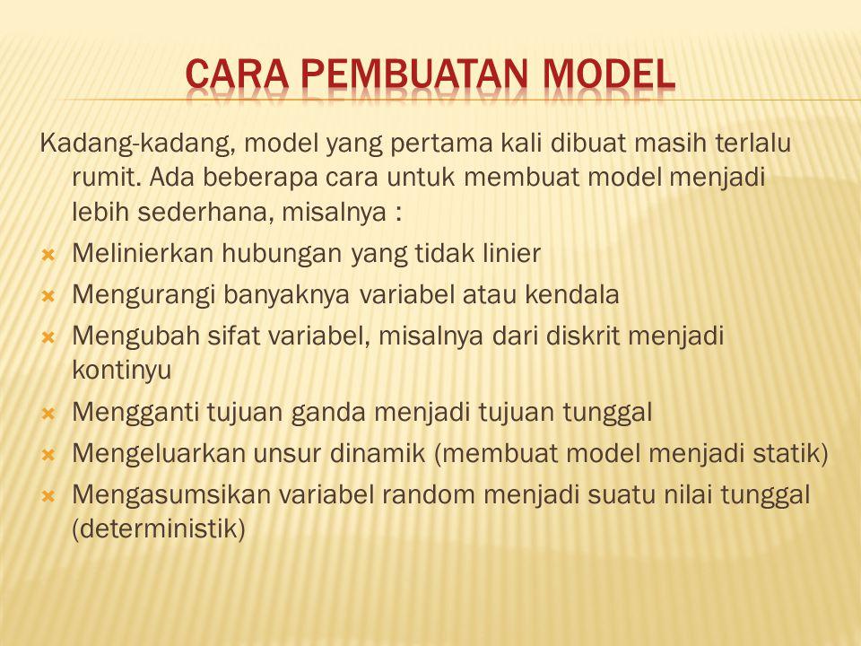 Kadang-kadang, model yang pertama kali dibuat masih terlalu rumit. Ada beberapa cara untuk membuat model menjadi lebih sederhana, misalnya :  Melinie