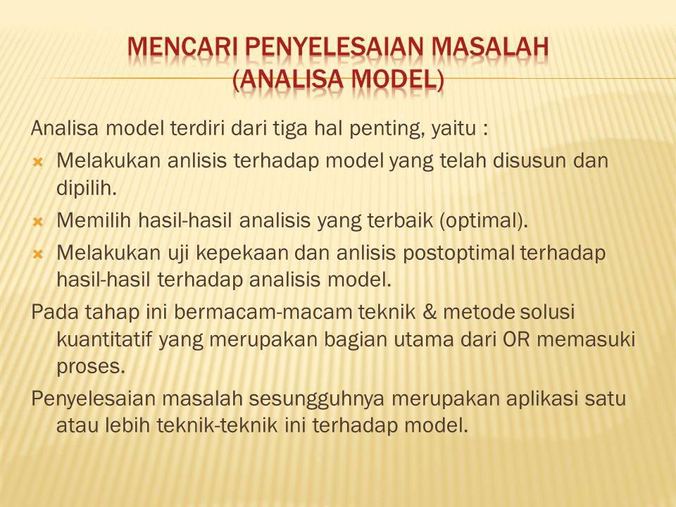 Analisa model terdiri dari tiga hal penting, yaitu :  Melakukan anlisis terhadap model yang telah disusun dan dipilih.  Memilih hasil-hasil analisis