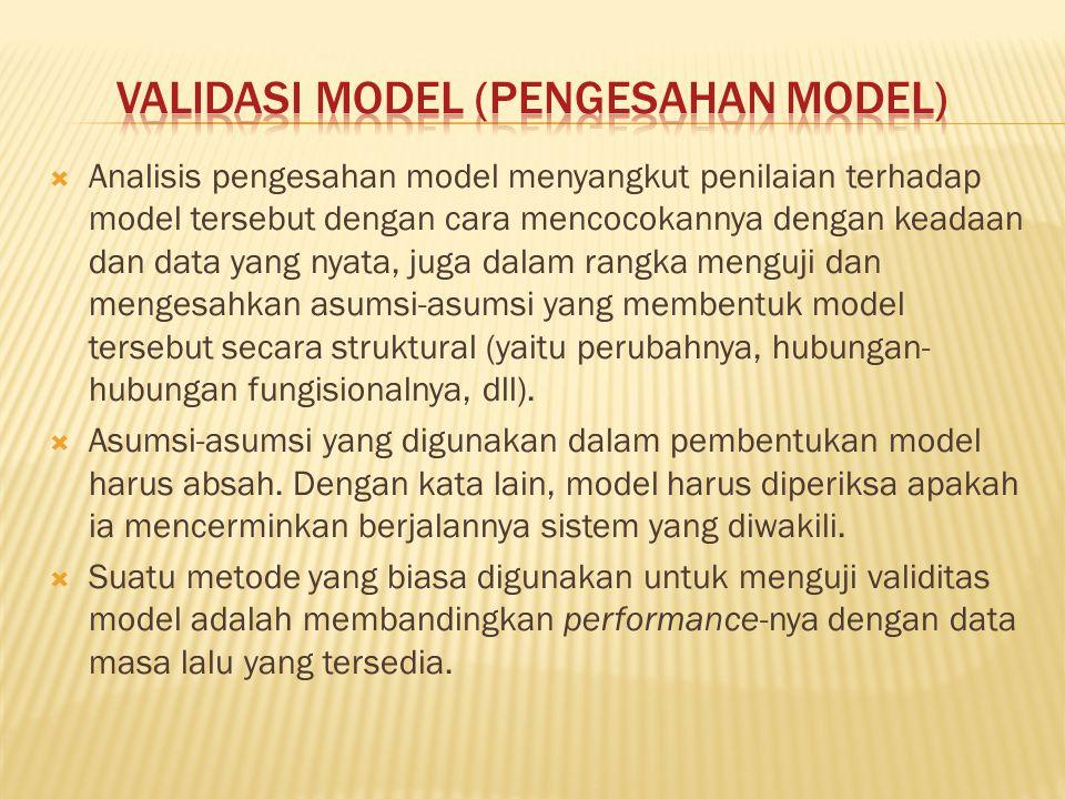 Analisis pengesahan model menyangkut penilaian terhadap model tersebut dengan cara mencocokannya dengan keadaan dan data yang nyata, juga dalam rang
