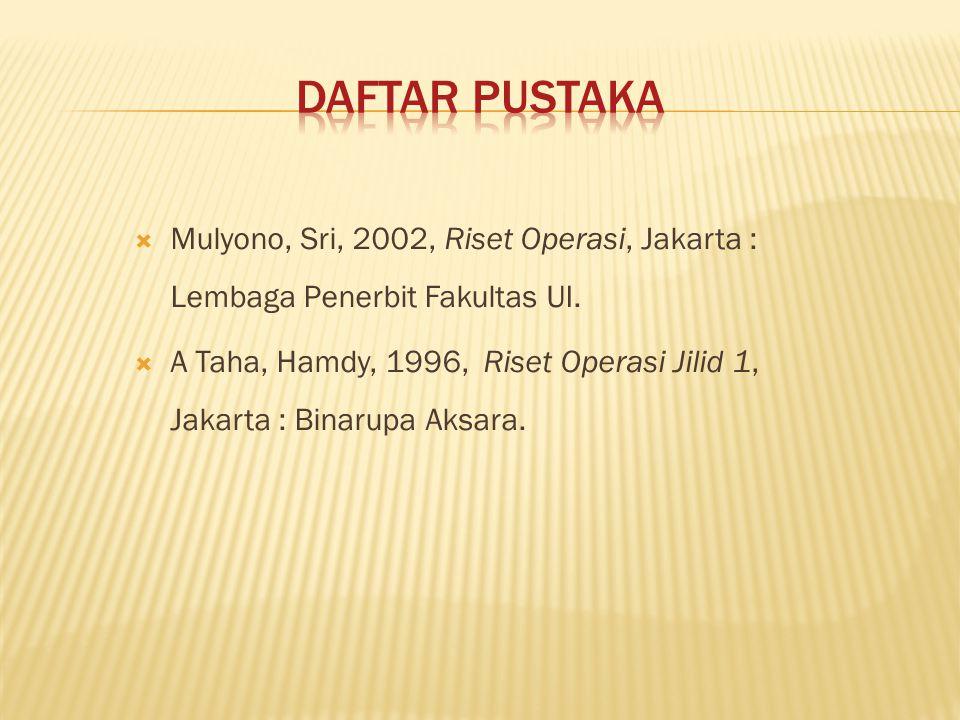  Mulyono, Sri, 2002, Riset Operasi, Jakarta : Lembaga Penerbit Fakultas UI.  A Taha, Hamdy, 1996, Riset Operasi Jilid 1, Jakarta : Binarupa Aksara.