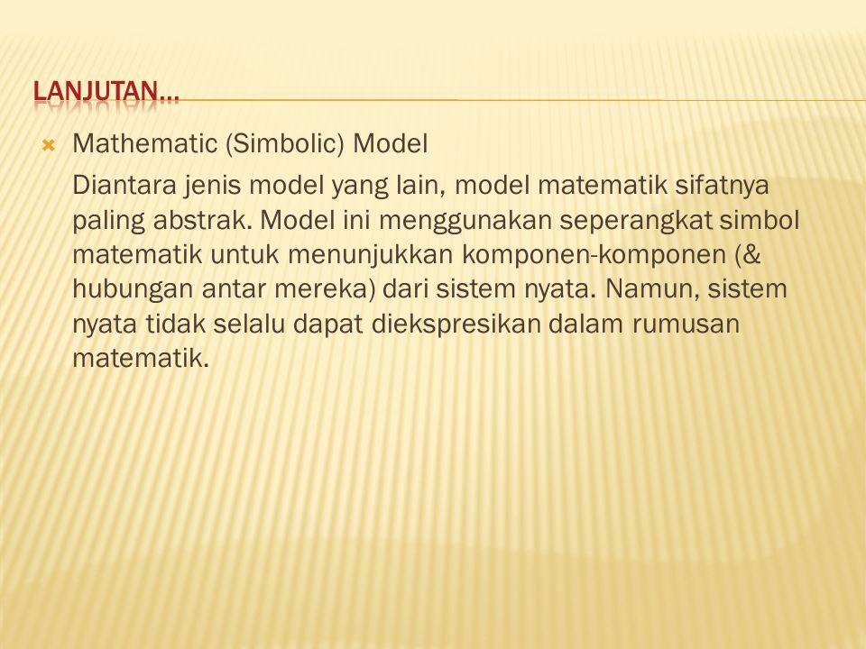  Mathematic (Simbolic) Model Diantara jenis model yang lain, model matematik sifatnya paling abstrak. Model ini menggunakan seperangkat simbol matema