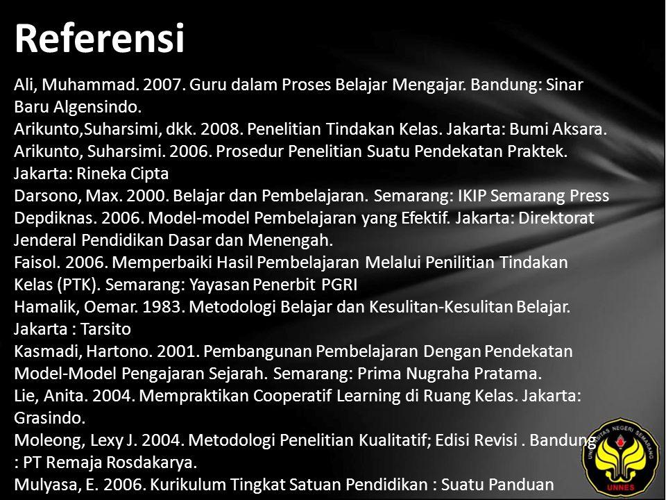 Referensi Ali, Muhammad. 2007. Guru dalam Proses Belajar Mengajar. Bandung: Sinar Baru Algensindo. Arikunto,Suharsimi, dkk. 2008. Penelitian Tindakan