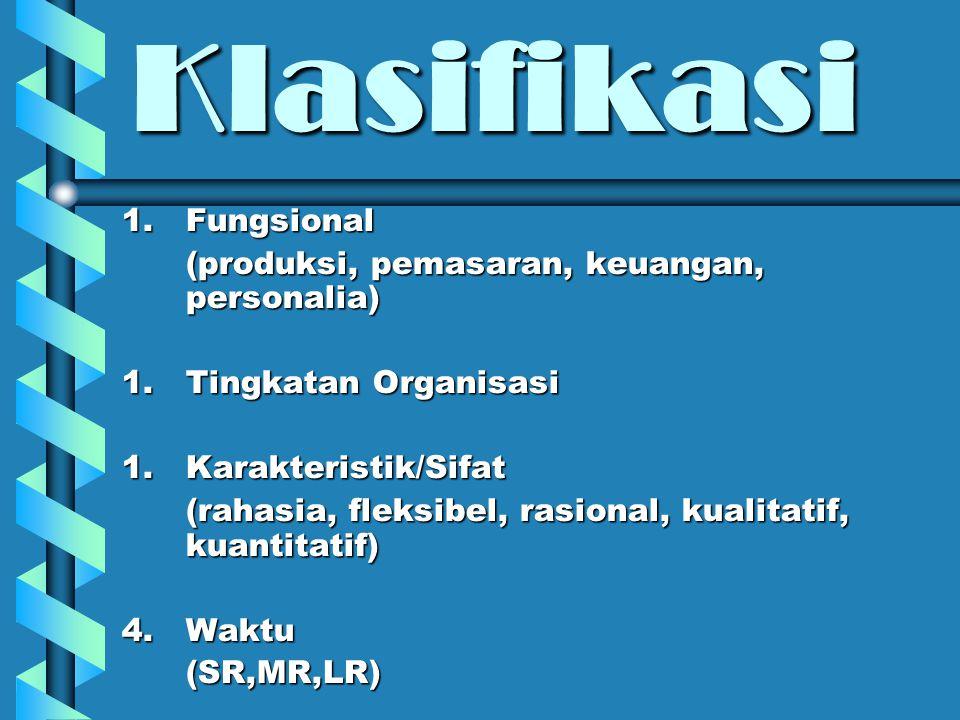 Klasifikasi 1.Fungsional (produksi, pemasaran, keuangan, personalia) 1.Tingkatan Organisasi 1.Karakteristik/Sifat (rahasia, fleksibel, rasional, kuali
