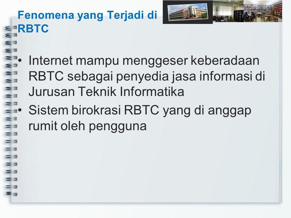 Internet mampu menggeser keberadaan RBTC sebagai penyedia jasa informasi di Jurusan Teknik Informatika Sistem birokrasi RBTC yang di anggap rumit oleh
