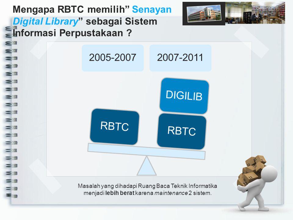 Masalah yang dihadapi Ruang Baca Teknik Informatika menjadi lebih berat karena maintenance 2 sistem. 2005-20072007-2011 RBTCDIGILIBRBTC Mengapa RBTC m