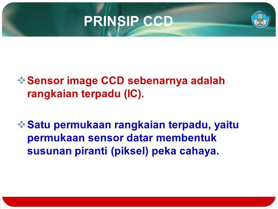 PRINSIP CCD  Sensor image CCD sebenarnya adalah rangkaian terpadu (IC).  Satu permukaan rangkaian terpadu, yaitu permukaan sensor datar membentuk su
