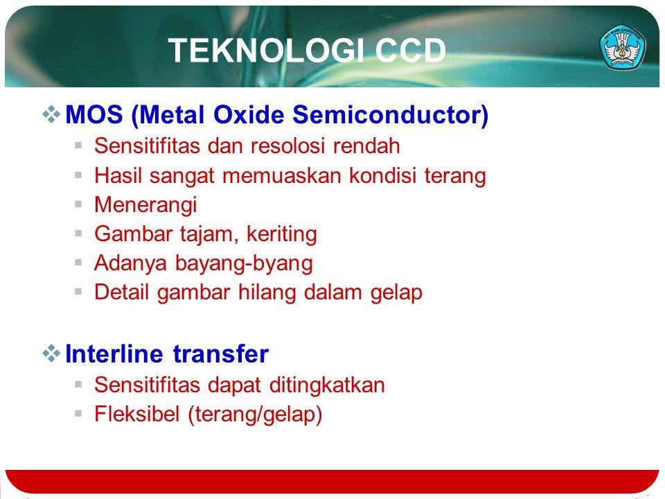 TEKNOLOGI CCD  MOS (Metal Oxide Semiconductor)  Sensitifitas dan resolosi rendah  Hasil sangat memuaskan kondisi terang  Menerangi  Gambar tajam,