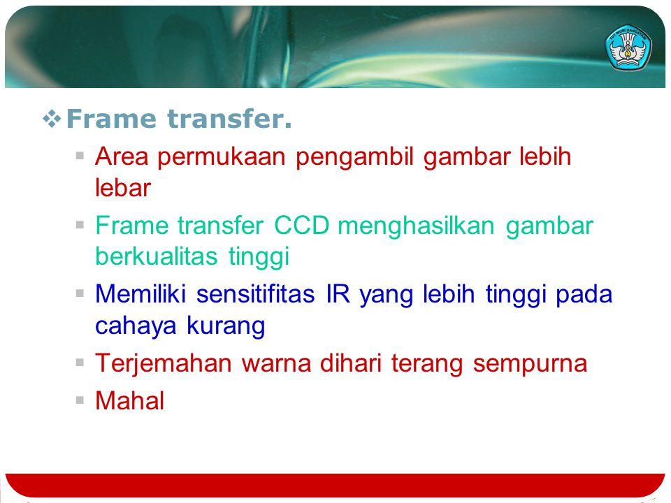  Frame transfer.  Area permukaan pengambil gambar lebih lebar  Frame transfer CCD menghasilkan gambar berkualitas tinggi  Memiliki sensitifitas IR
