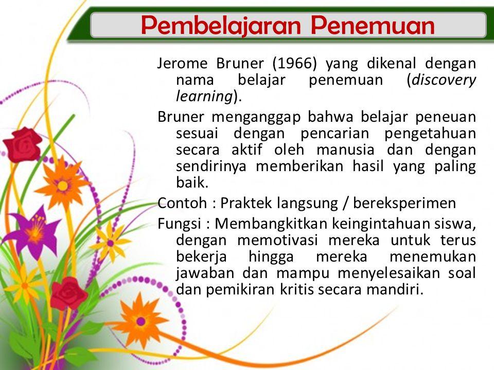 Jerome Bruner (1966) yang dikenal dengan nama belajar penemuan (discovery learning). Bruner menganggap bahwa belajar peneuan sesuai dengan pencarian p