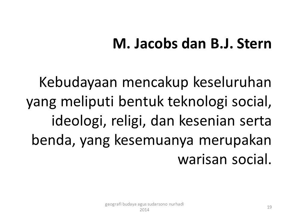 M. Jacobs dan B.J. Stern Kebudayaan mencakup keseluruhan yang meliputi bentuk teknologi social, ideologi, religi, dan kesenian serta benda, yang kesem