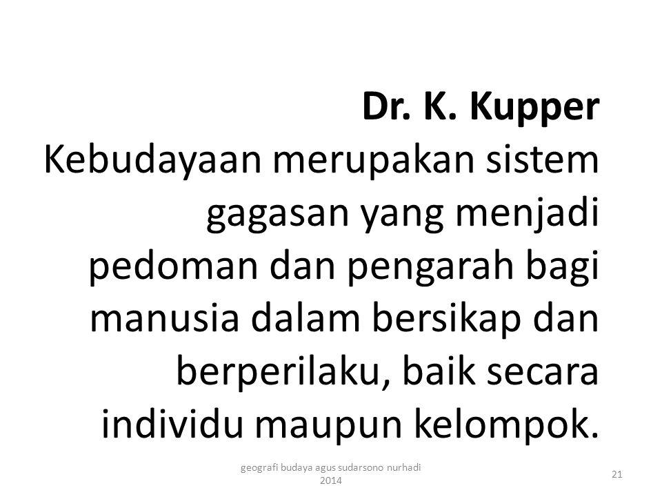 Dr. K. Kupper Kebudayaan merupakan sistem gagasan yang menjadi pedoman dan pengarah bagi manusia dalam bersikap dan berperilaku, baik secara individu