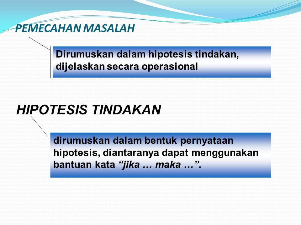 PEMECAHAN MASALAH Dirumuskan dalam hipotesis tindakan, dijelaskan secara operasional HIPOTESIS TINDAKAN dirumuskan dalam bentuk pernyataan hipotesis,