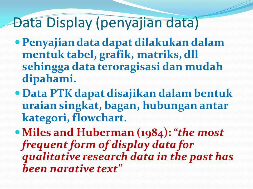 Data Display (penyajian data) Penyajian data dapat dilakukan dalam mentuk tabel, grafik, matriks, dll sehingga data teroragisasi dan mudah dipahami. D