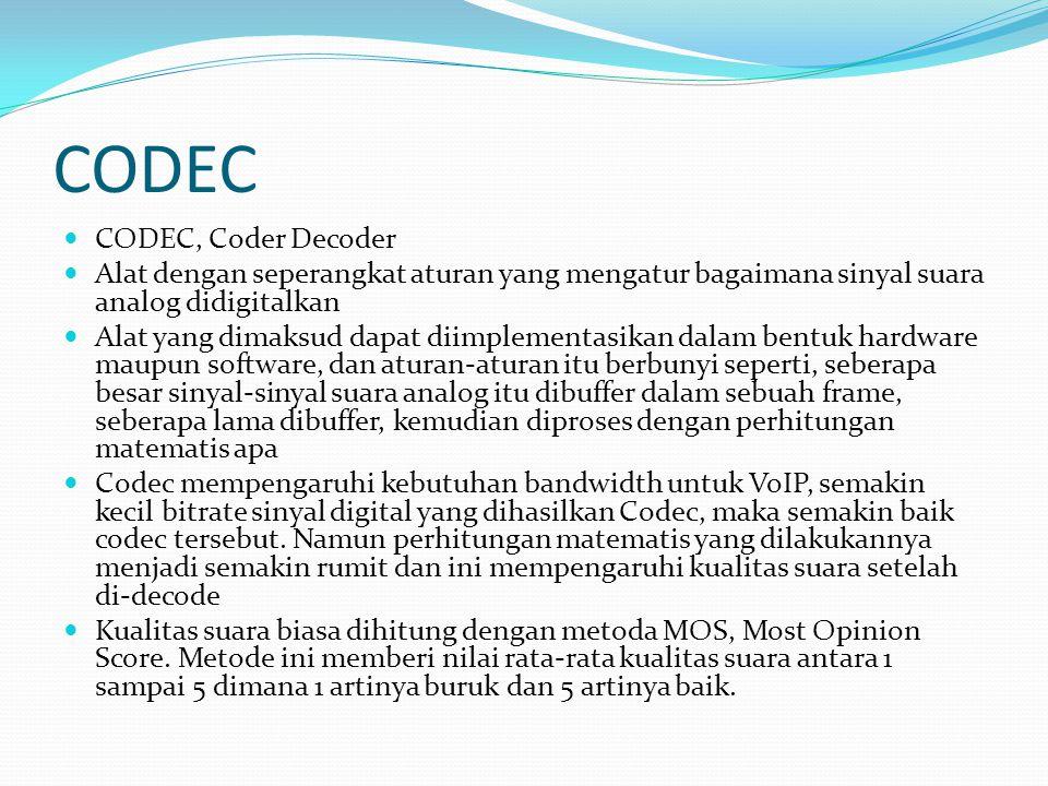 CODEC CODEC, Coder Decoder Alat dengan seperangkat aturan yang mengatur bagaimana sinyal suara analog didigitalkan Alat yang dimaksud dapat diimplemen
