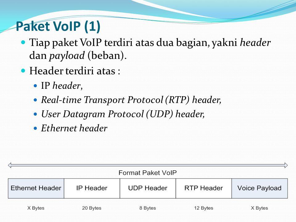 Paket VoIP (1) Tiap paket VoIP terdiri atas dua bagian, yakni header dan payload (beban). Header terdiri atas : IP header, Real-time Transport Protoco