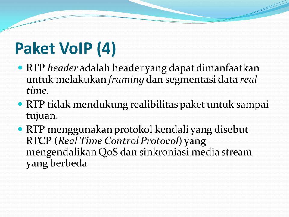 Paket VoIP (4) RTP header adalah header yang dapat dimanfaatkan untuk melakukan framing dan segmentasi data real time. RTP tidak mendukung realibilita