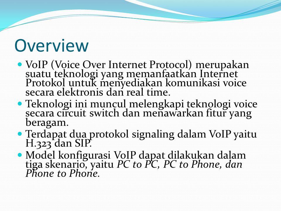 Overview VoIP (Voice Over Internet Protocol) merupakan suatu teknologi yang memanfaatkan Internet Protokol untuk menyediakan komunikasi voice secara e
