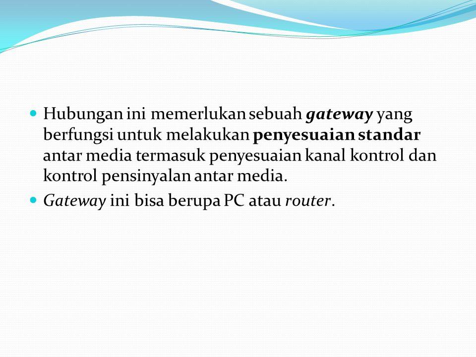 Hubungan ini memerlukan sebuah gateway yang berfungsi untuk melakukan penyesuaian standar antar media termasuk penyesuaian kanal kontrol dan kontrol p