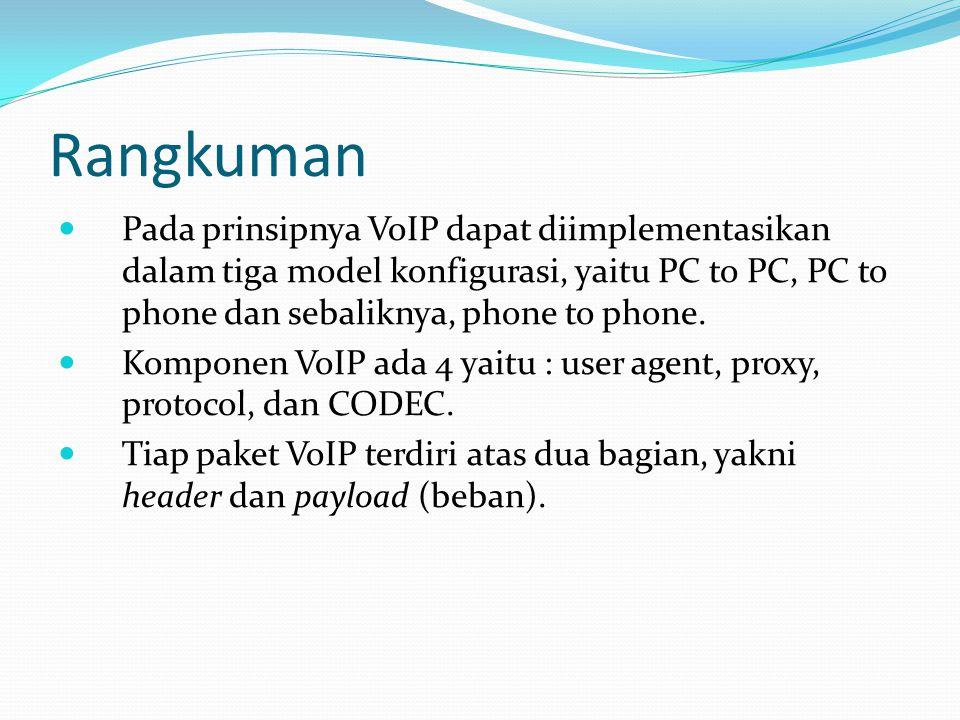 Rangkuman Pada prinsipnya VoIP dapat diimplementasikan dalam tiga model konfigurasi, yaitu PC to PC, PC to phone dan sebaliknya, phone to phone. Kompo