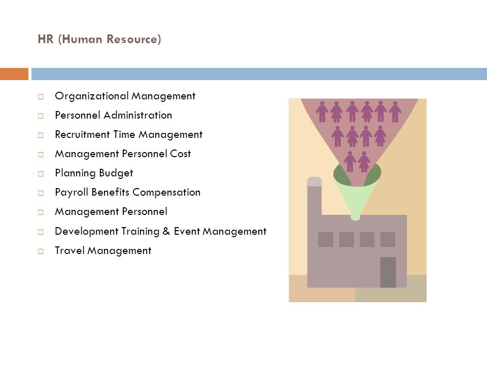 HR (Human Resource)  Organizational Management  Personnel Administration  Recruitment Time Management  Management Personnel Cost  Planning Budget