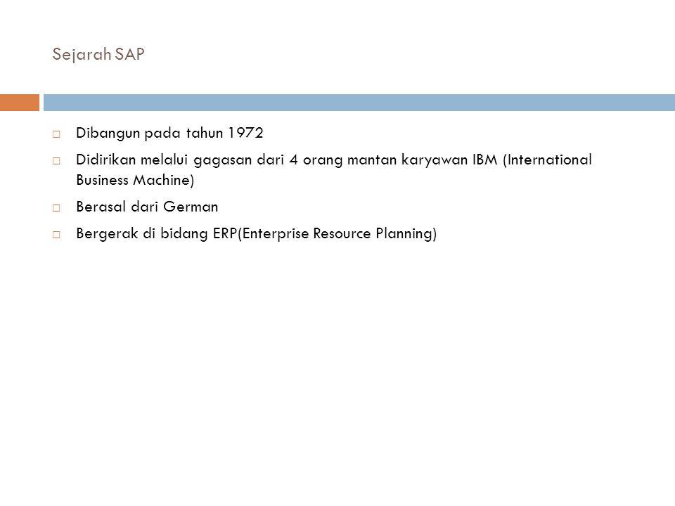 Sejarah SAP  Dibangun pada tahun 1972  Didirikan melalui gagasan dari 4 orang mantan karyawan IBM (International Business Machine)  Berasal dari Ge