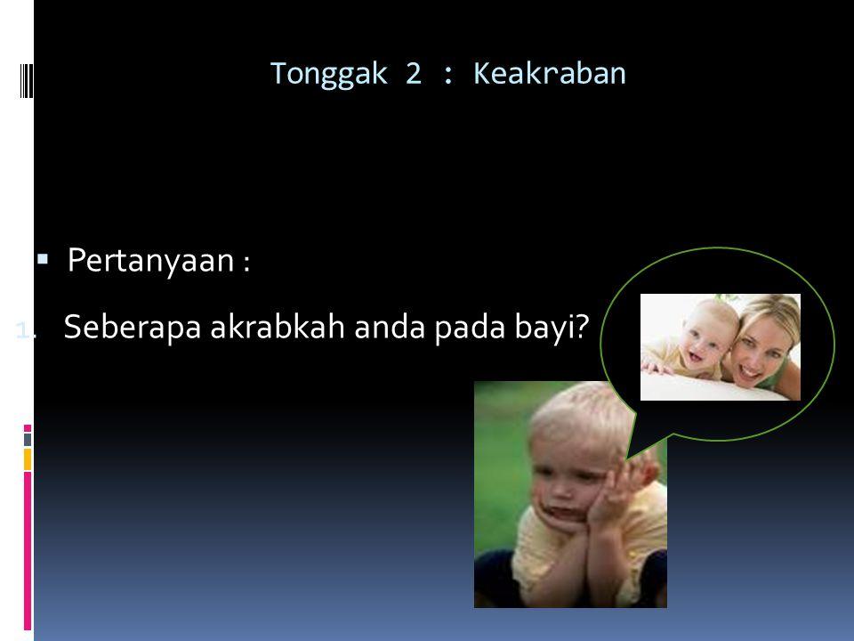 Tonggak 2 : Keakraban  Pertanyaan : 1. Seberapa akrabkah anda pada bayi?