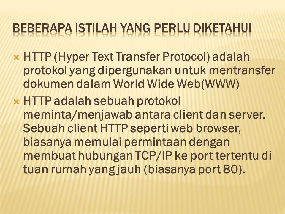  HTTP (Hyper Text Transfer Protocol) adalah protokol yang dipergunakan untuk mentransfer dokumen dalam World Wide Web(WWW)  HTTP adalah sebuah proto