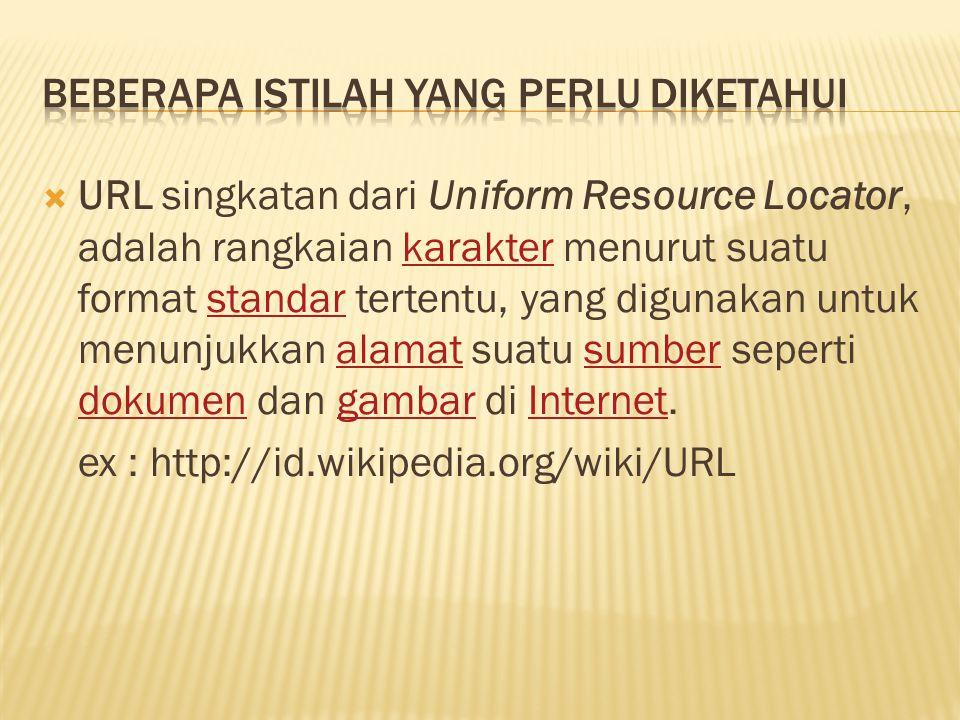  URL singkatan dari Uniform Resource Locator, adalah rangkaian karakter menurut suatu format standar tertentu, yang digunakan untuk menunjukkan alama