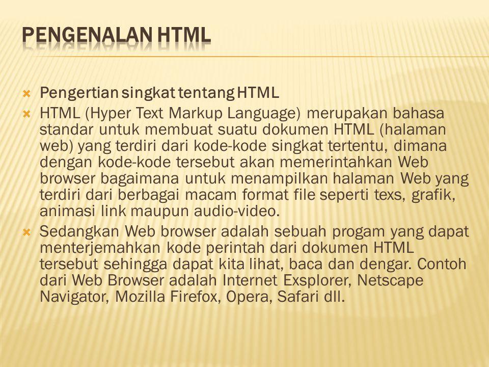  Pengertian singkat tentang HTML  HTML (Hyper Text Markup Language) merupakan bahasa standar untuk membuat suatu dokumen HTML (halaman web) yang ter