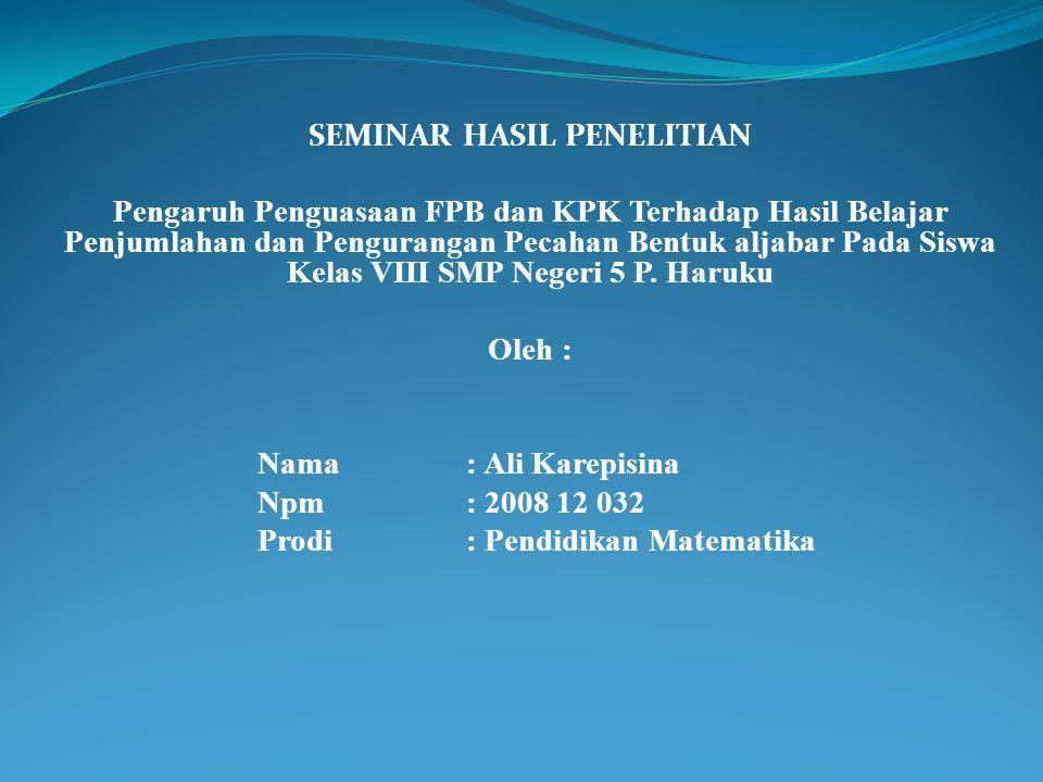 Analisis Statistik Deskriptif Tingkat penguasaan siswa terhadap materi FPB dan KPK.