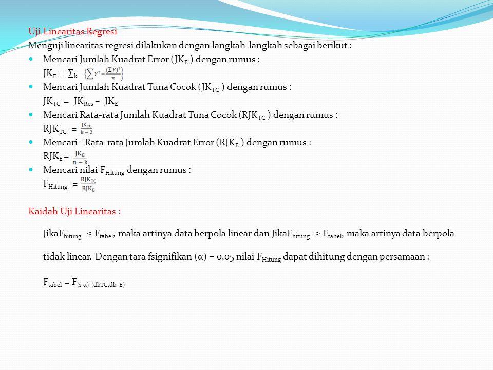Uji Linearitas Regresi Menguji linearitas regresi dilakukan dengan langkah-langkah sebagai berikut : Mencari Jumlah Kuadrat Error (JK E ) dengan rumus