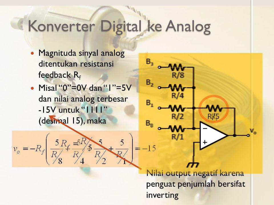 """Konverter Digital ke Analog Magnituda sinyal analog ditentukan resistansi feedback R f Misal """"0""""=0V dan """"1""""=5V dan nilai analog terbesar -15V untuk """"1"""