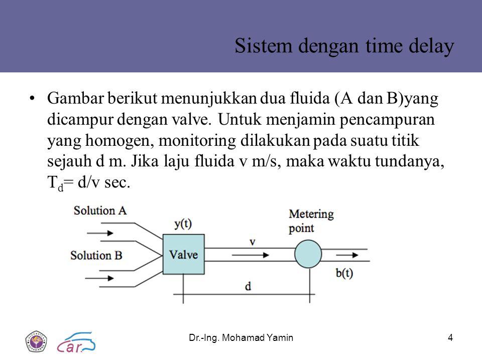 Sistem dengan time delay Gambar berikut menunjukkan dua fluida (A dan B)yang dicampur dengan valve.