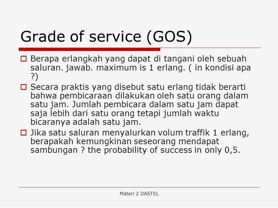 Grade of service (GOS)  Berapa erlangkah yang dapat di tangani oleh sebuah saluran. jawab. maximum is 1 erlang. ( in kondisi apa ?)  Secara praktis