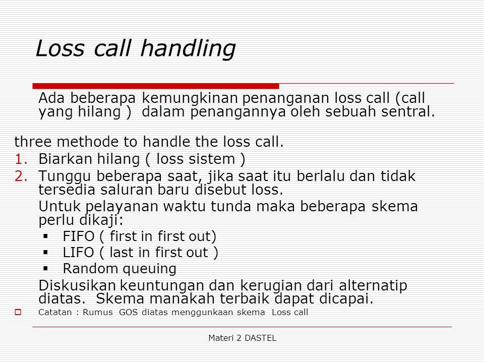 Loss call handling Ada beberapa kemungkinan penanganan loss call (call yang hilang ) dalam penangannya oleh sebuah sentral. three methode to handle th
