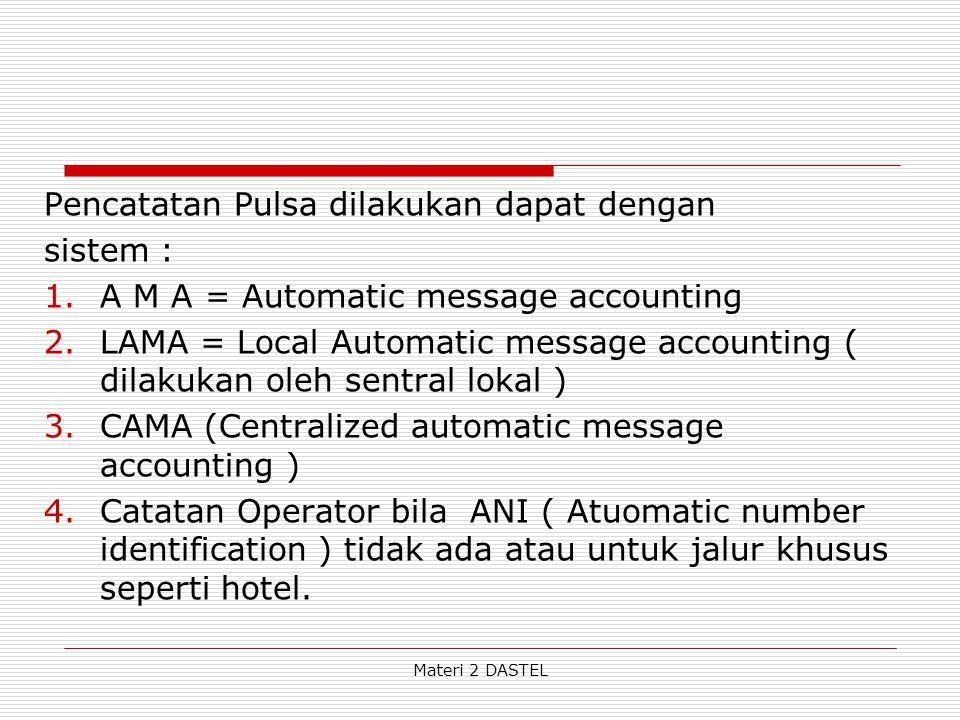Materi 2 DASTEL Pencatatan Pulsa dilakukan dapat dengan sistem : 1.A M A = Automatic message accounting 2.LAMA = Local Automatic message accounting (