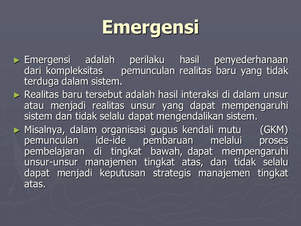 Emergensi ► Emergensi adalah perilaku hasil penyederhanaan dari kompleksitas pemunculan realitas baru yang tidak terduga dalam sistem. ► Realitas baru