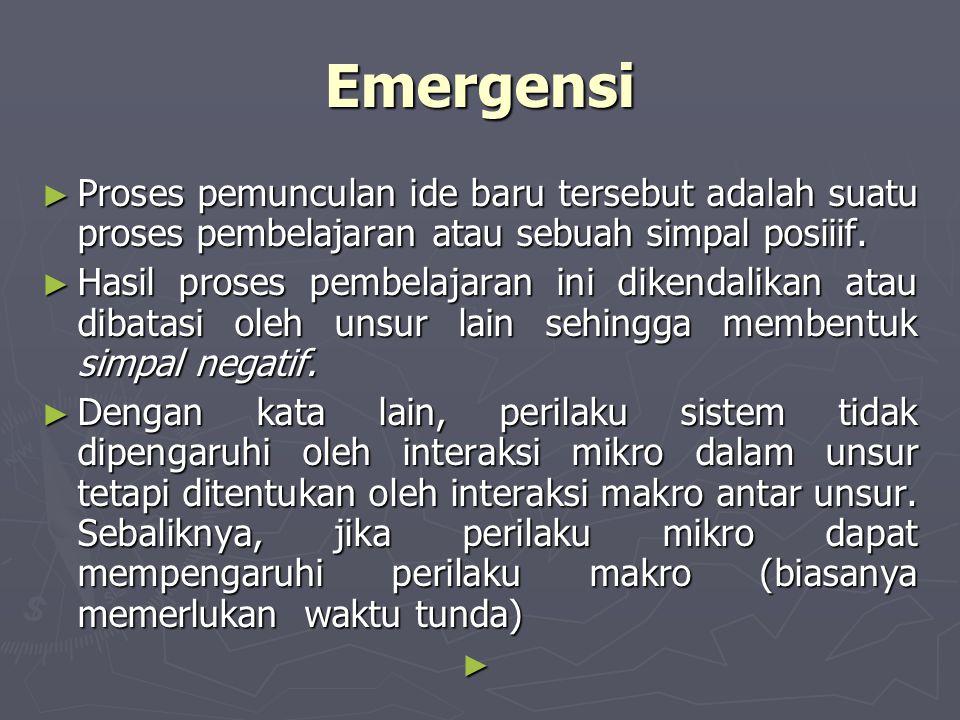 Emergensi ► Proses pemunculan ide baru tersebut adalah suatu proses pembelajaran atau sebuah simpal posiiif. ► Hasil proses pembelajaran ini dikendali
