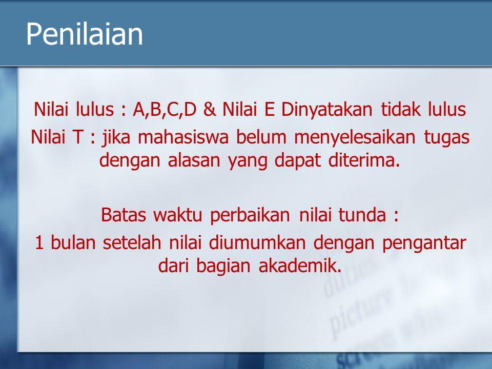 Penilaian Nilai lulus : A,B,C,D & Nilai E Dinyatakan tidak lulus Nilai T : jika mahasiswa belum menyelesaikan tugas dengan alasan yang dapat diterima.