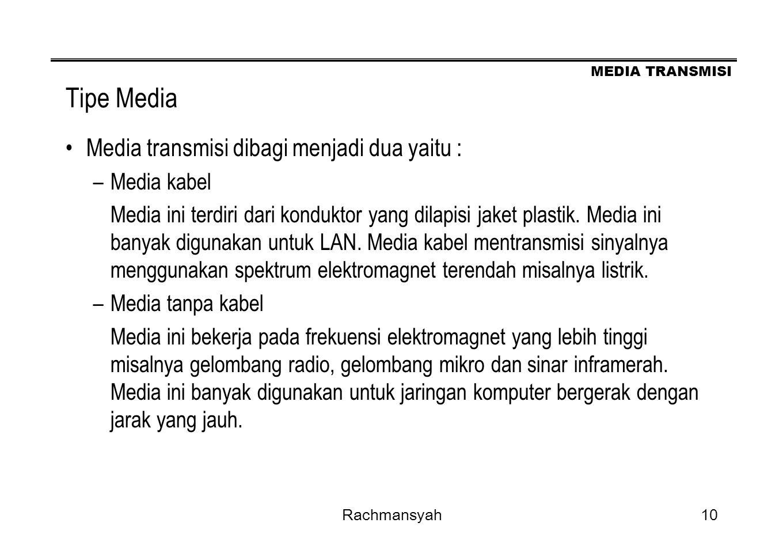 MEDIA TRANSMISI Rachmansyah10 Tipe Media Media transmisi dibagi menjadi dua yaitu : –Media kabel Media ini terdiri dari konduktor yang dilapisi jaket