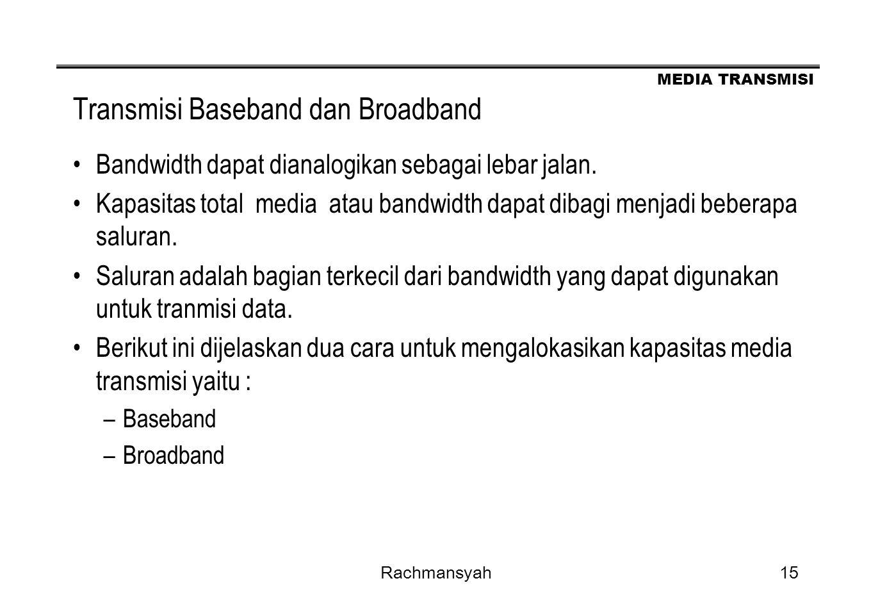MEDIA TRANSMISI Rachmansyah15 Transmisi Baseband dan Broadband Bandwidth dapat dianalogikan sebagai lebar jalan. Kapasitas total media atau bandwidth