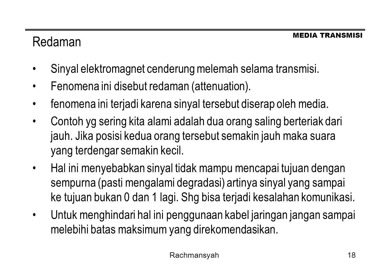 MEDIA TRANSMISI Rachmansyah18 Redaman Sinyal elektromagnet cenderung melemah selama transmisi. Fenomena ini disebut redaman (attenuation). fenomena in