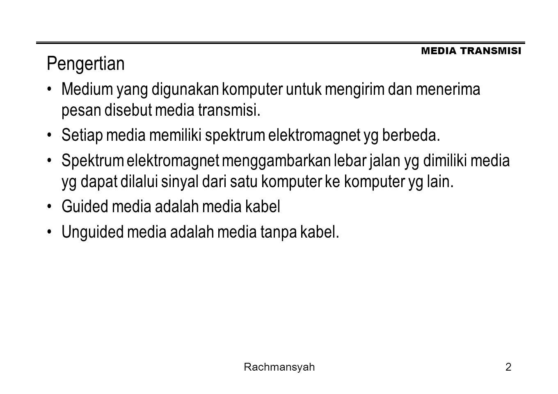 MEDIA TRANSMISI Rachmansyah2 Pengertian Medium yang digunakan komputer untuk mengirim dan menerima pesan disebut media transmisi. Setiap media memilik