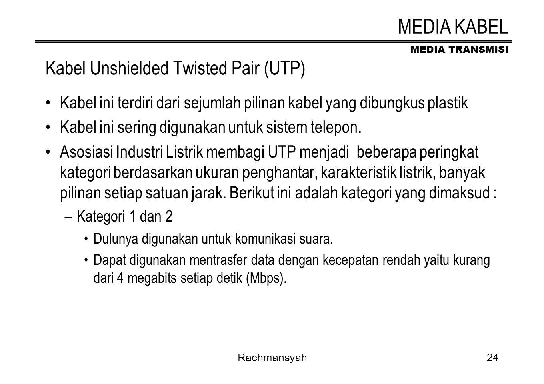 MEDIA TRANSMISI Rachmansyah24 Kabel Unshielded Twisted Pair (UTP) Kabel ini terdiri dari sejumlah pilinan kabel yang dibungkus plastik Kabel ini serin
