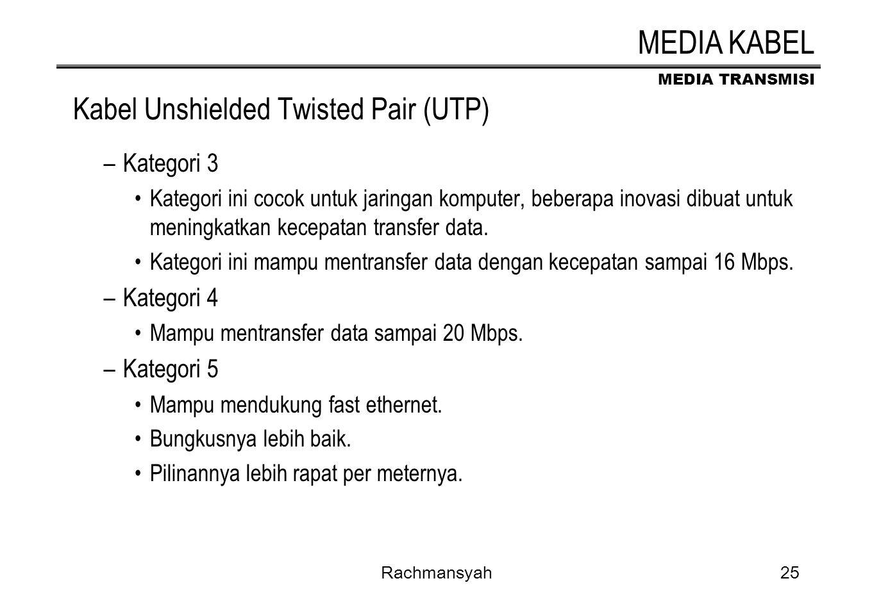 MEDIA TRANSMISI Rachmansyah25 Kabel Unshielded Twisted Pair (UTP) –Kategori 3 Kategori ini cocok untuk jaringan komputer, beberapa inovasi dibuat untu