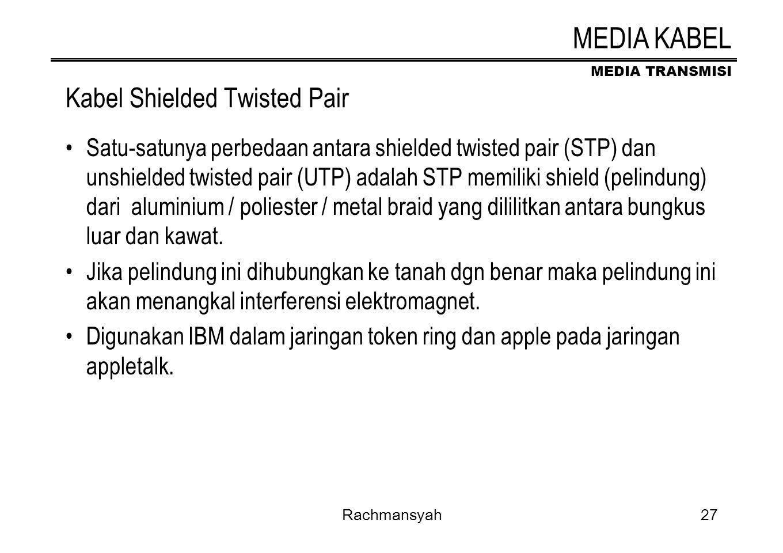 MEDIA TRANSMISI Rachmansyah27 Kabel Shielded Twisted Pair Satu-satunya perbedaan antara shielded twisted pair (STP) dan unshielded twisted pair (UTP)