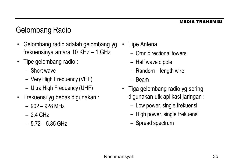 MEDIA TRANSMISI Rachmansyah35 Gelombang Radio Gelombang radio adalah gelombang yg frekuensinya antara 10 KHz – 1 GHz Tipe gelombang radio : –Short wav